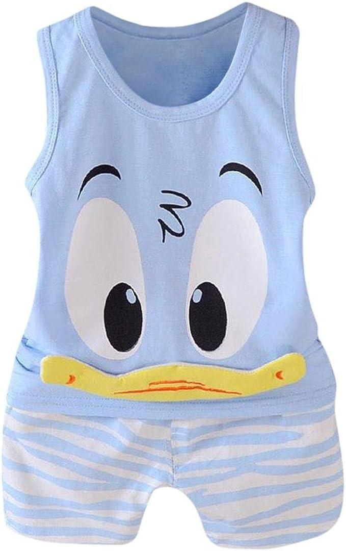 Shorts Outfit Set Toddler Baby Girls Boys Cute Cartoon Sleeveless Tops