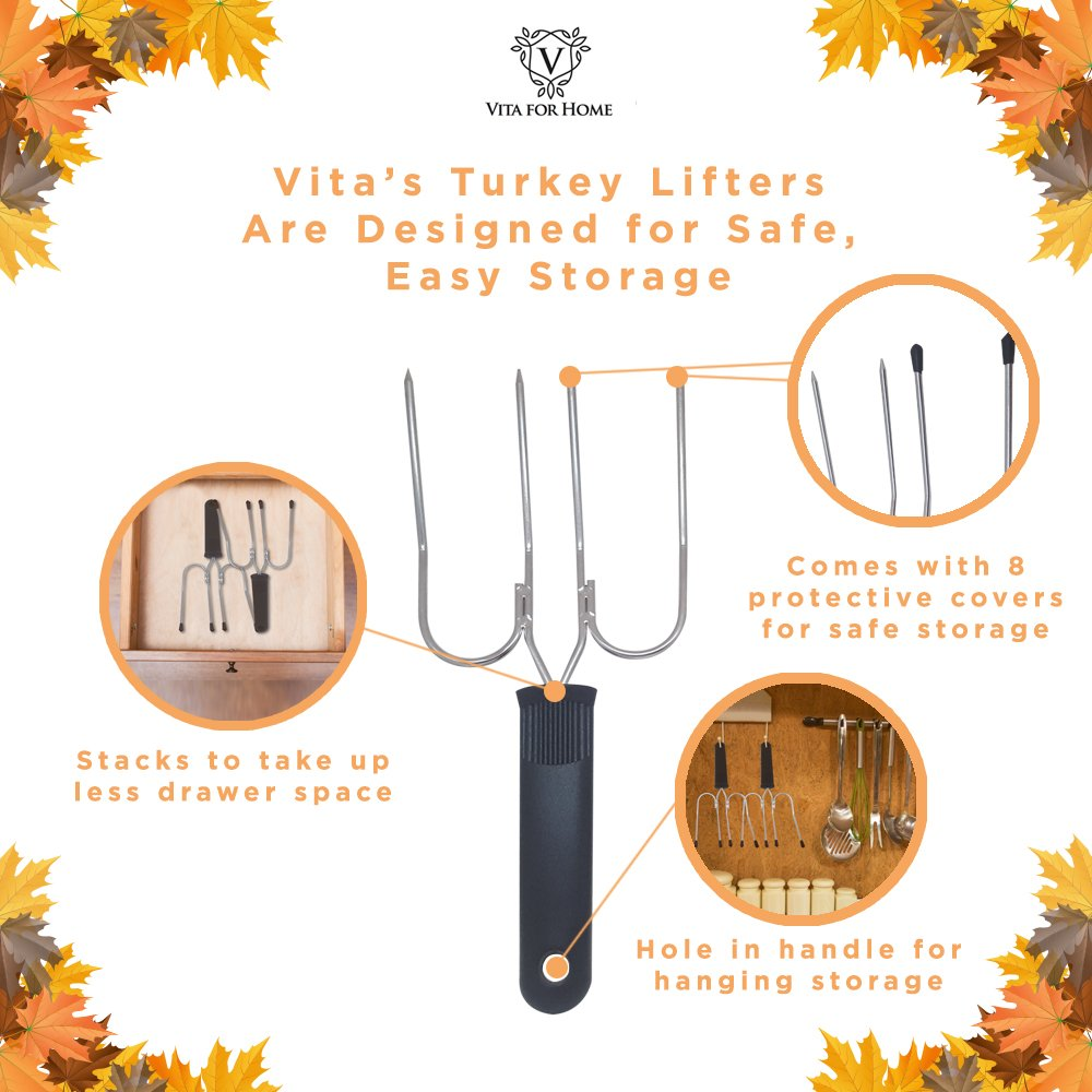 Turkey Lifter Forks - Set of 2 Stainless Steel Turkey Lifters with Slip Resistant Grip. Doubles as a Carving Fork. Will Not Bend or Break.