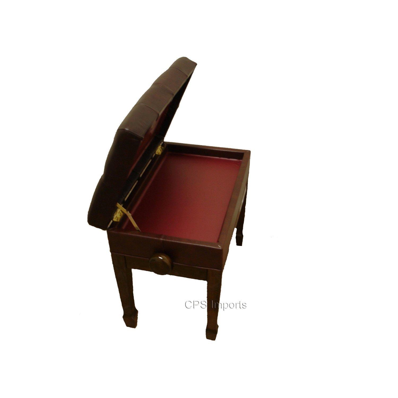 Adjustable Genuine Leather Artist Piano Bench in Walnut