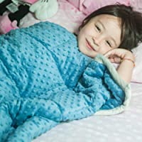 Daverose Kids Minky Weighted Blanket | Upgraded One Piece Design | Reduce Stress Anxiety | Great for ADHS, Insomnia, Autism, Agitation (92x122cm 2.3kg, Azurite Minky Dot/Light Grey)