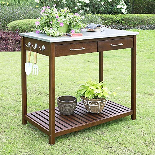 (StarSun Depot Outdoor Solid Wood Potting Bench Work Table with Galvanized Metal Top)
