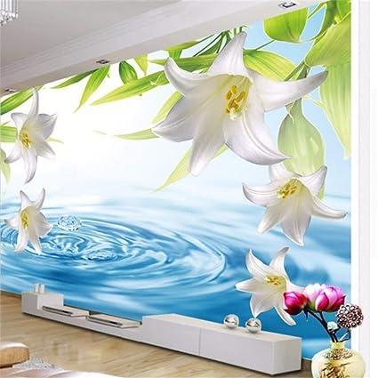 cadfb3130bf Fushoulu Personalizado Cualquier Tamaño Papel Tapiz Fotográfico 3D Flor De  Lirio Moderno Agua Estereoscópica Onda Sala