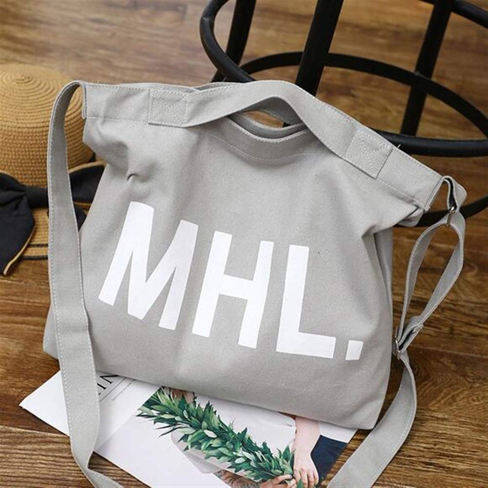 WHXYAA Letter Canvas Shoulder Bag Large Capacity Fashion Casual Shopping Bag Ladies Tote Bag Light Grey Simple Atmosphere
