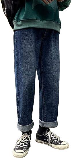 YiTongデニムパンツ メンズ シンプル ゆったり ジーンズ ワードパンツ ストレート 大きいサイズ 春秋 薄手 原宿風 パンツ デート 通学 ファッション