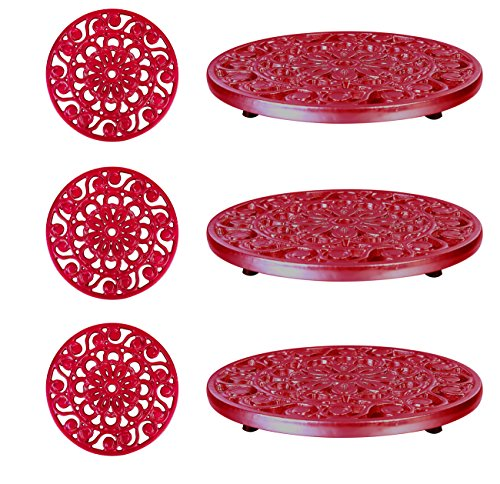 Decorative Cast Iron Metal Trivets by Trademark Innovations (Red) (3 Trivets)