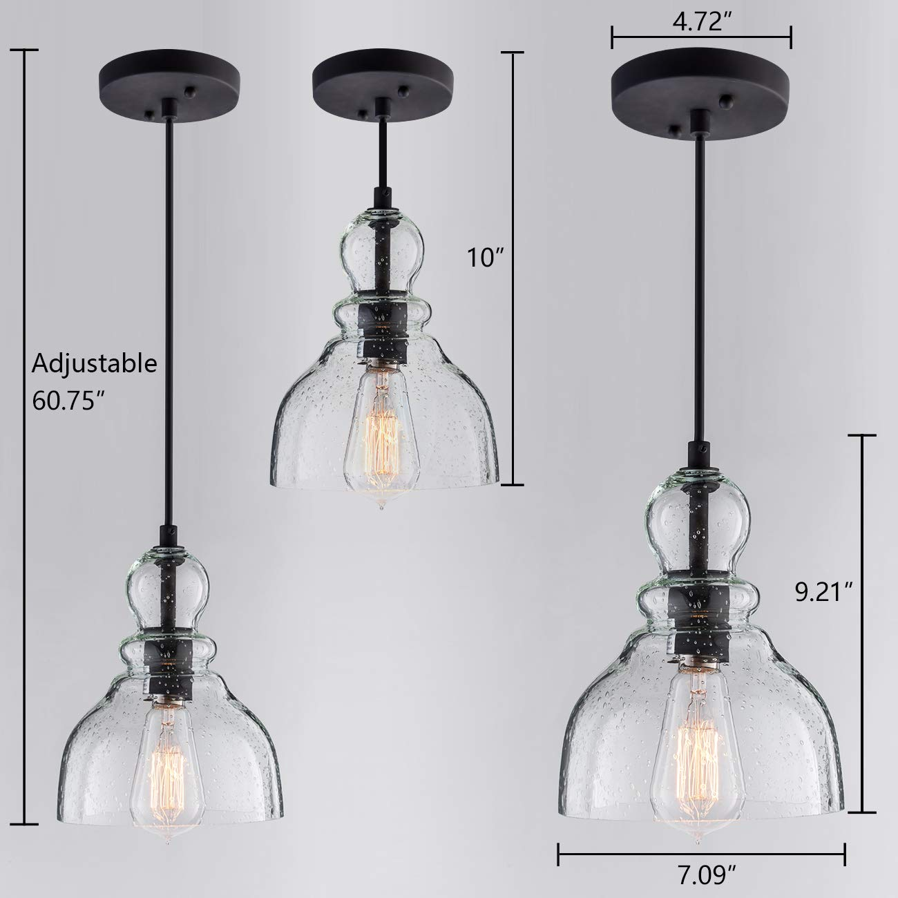 Lanros Industrial Mini Pendant Lighting with Handblown Clear Seeded Glass Shade, Adjustable Edison Farmhouse Kitchen Lamp for Kitchen Island, Restaurants, Hotels and Shops, 1-Pack by LANROS (Image #6)