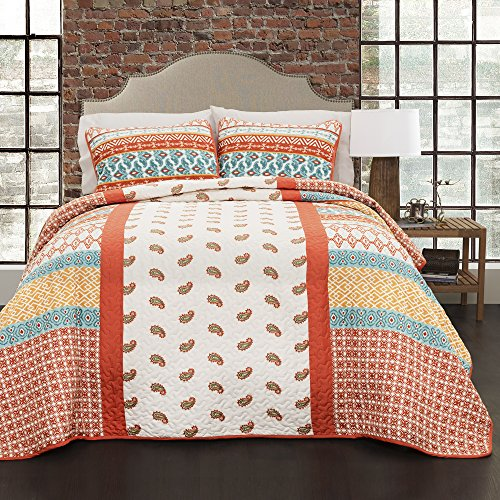 Lush Decor 16T000999 Calliope 3Piece Quilt Set, Tangerine,