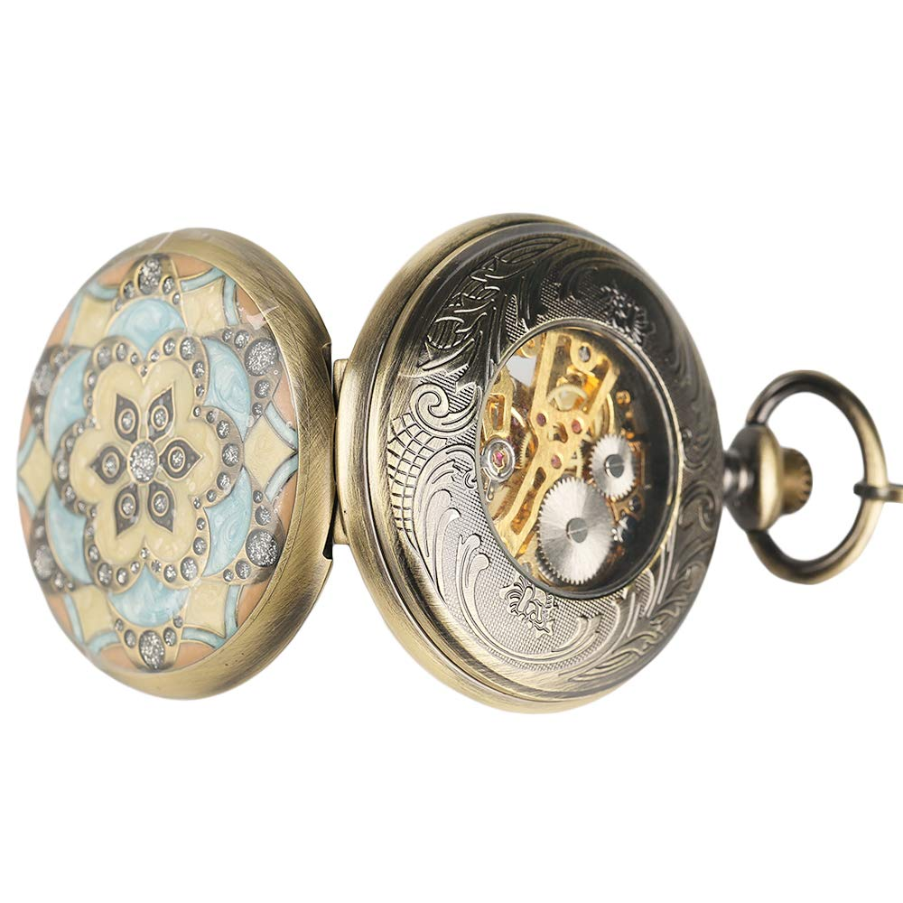 Creative Pocket Watch, Mechanical Hand Winding Pocket Watch, Gifts for Men Women by mygardens (Image #5)