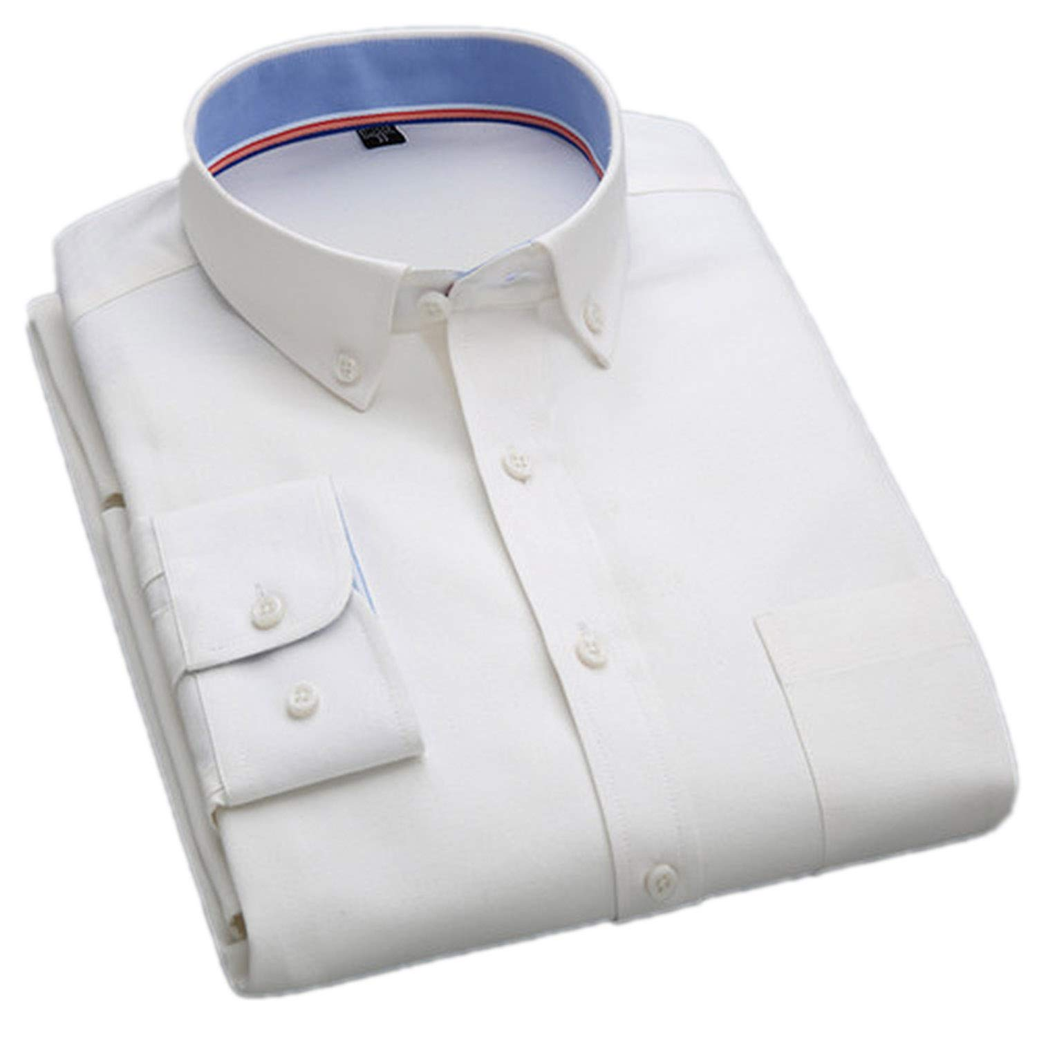 Oxford Fabric Long-Sleeved Button Collar Easy Care Comfortable Slim fit Solid Mens Casual Shirts