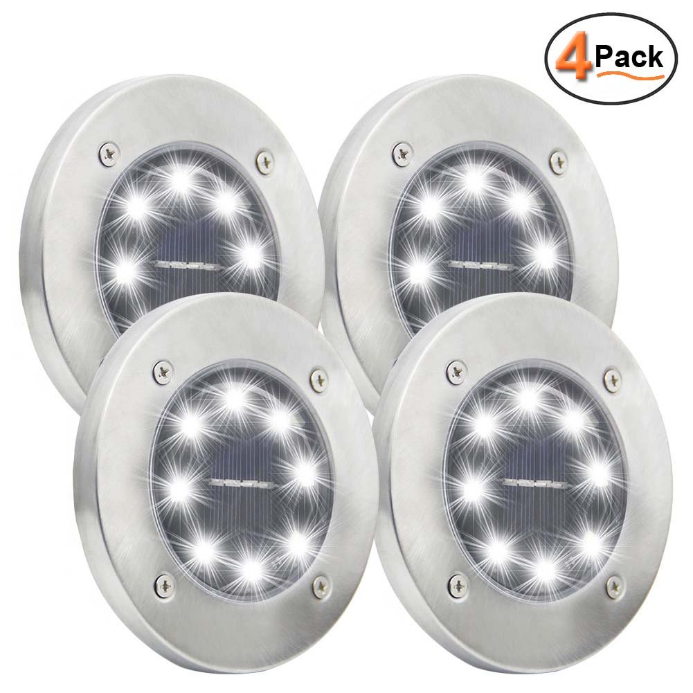 Maggift Solar Ground Lights, 8 LED Garden Pathway Outdoor In-Ground Lights, 4 Pack (White) by Maggift