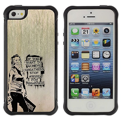 Unique Pattern Anti-Skid Hybrid Impact Shockproof Case Cover For Apple iPhone SE / iPhone 5 / iPhone 5S , ( Banksy Graffity ) (Graffity Cool)