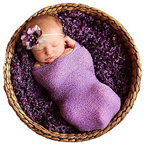 Sunmig Newborn Baby Stretch Wrap Photo Props Wrap-Baby Photography Props (Purlple)