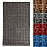 casa pura Entrance Mat | Embossed Front Door Mat | Indoor and Outdoor Entry Rug | Anthracite | 17'' x 30''
