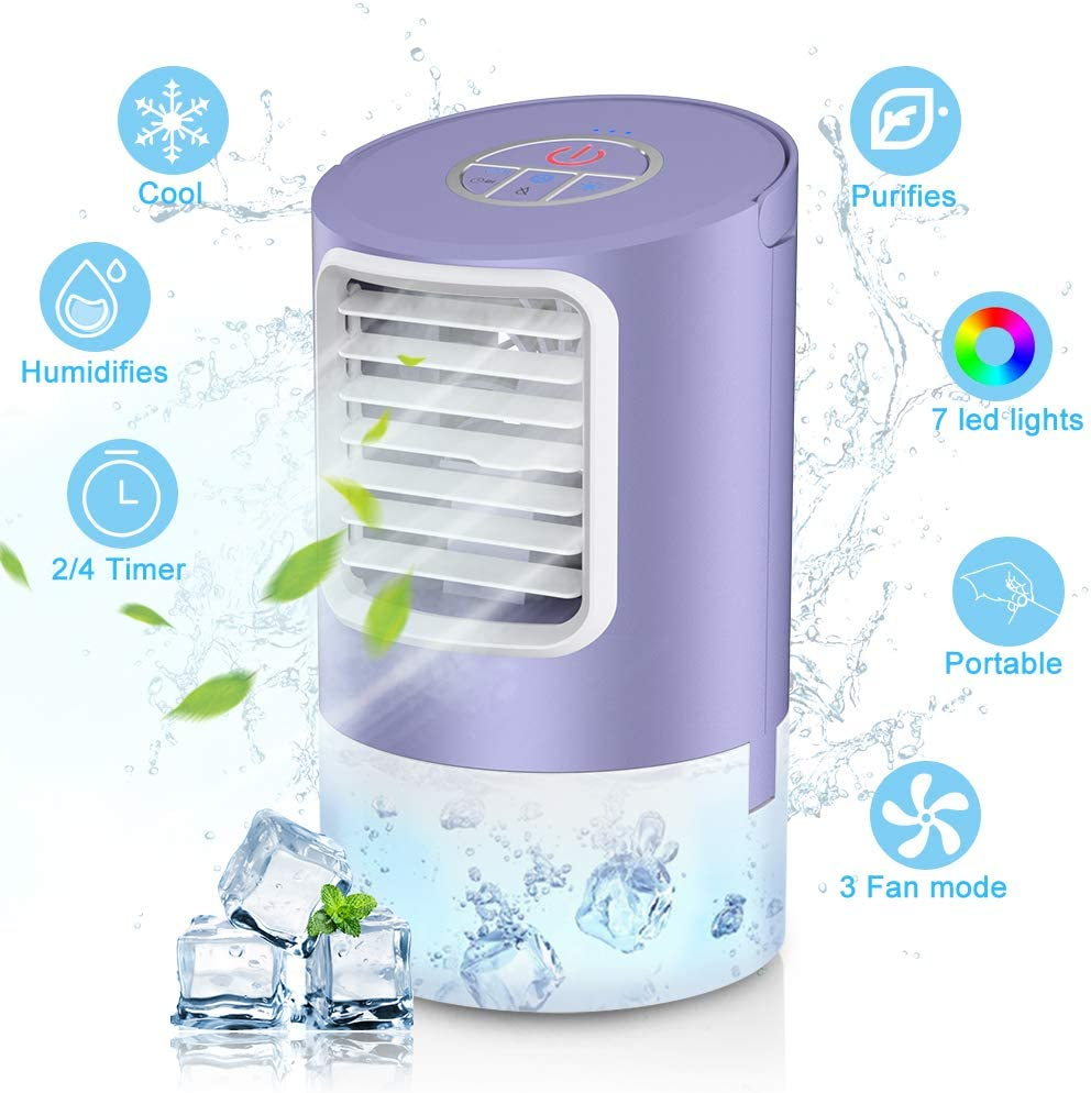 Personal Evaporative Air Cooler, Humidifier Portable Mini Space Air Conditioners Desk Fan with 3 Wind Speeds for Room Office Home Travel, Purple
