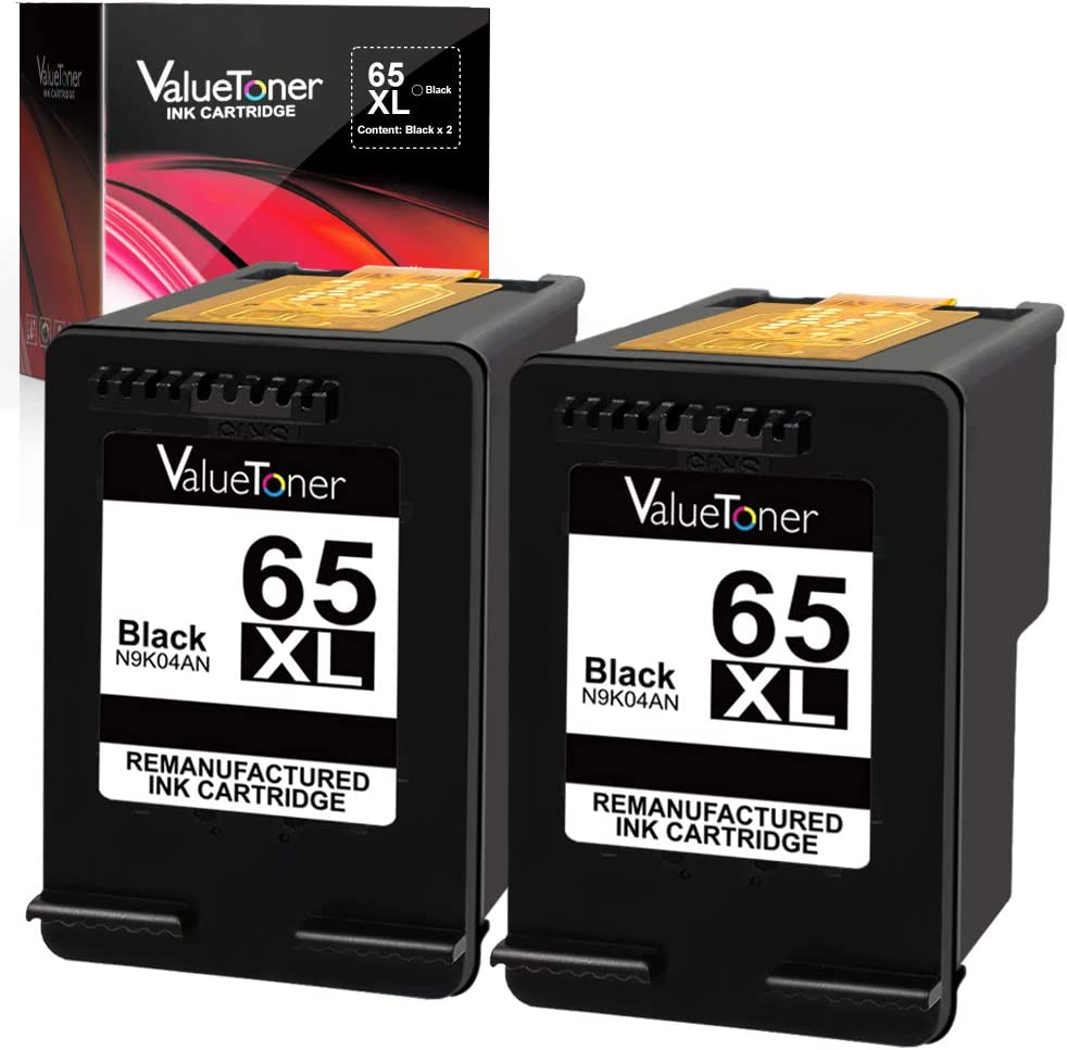 Valuetoner Remanufactured Ink Cartridge Replacement for HP 65 XL 65XL N9K04AN for Envy 5055 5052 5058 DeskJet 3755 2655 3720 3722 3723 3730 3732 3752 3758 2652 2624 High Yield Updated Chip (2 Black)