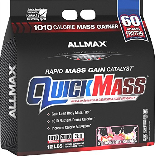 ALLMAX QUICKMASS LOADED, Rapid Mass Gain Catalyst Powder, Zero Trans Fat, Strawberry Banana Flavor, Dietary Supplement, 12 Pound by Allmax Nutrition