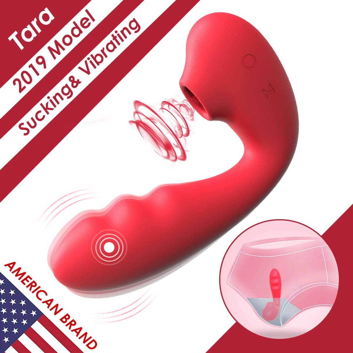 Clitoral Sucking Vibrator, Wearable G Spot Vibrators Waterproof, Rechargeable Clitoris Stimulator with 3 Suction & 10 Vibration Patterns Sex Toys for Women (Red)) by SVAKOM