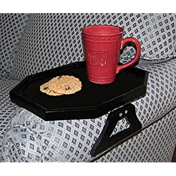 WOODEN CLIP ON ARM TABLE WITH PROTECTIVE LIP - BLACK BY JUMBL