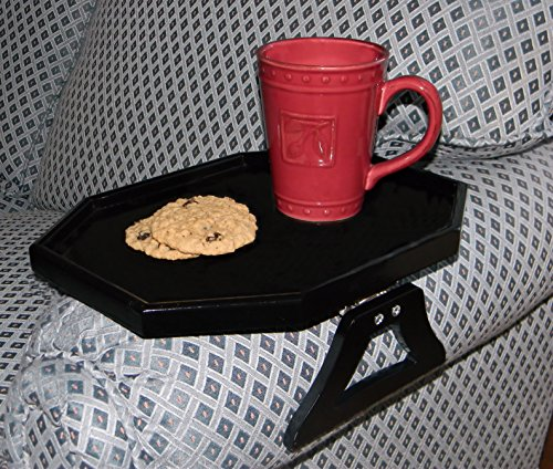 WOODEN CLIP ON ARM TABLE WITH PROTECTIVE LIP - BLACK BY (Sofa Arm Tray)
