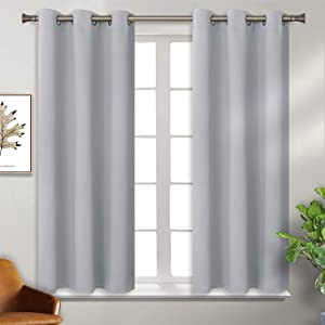 BGment Blackout Curtains for Living Room - Grommet Thermal Insulated Room Darkening Curtains for Bedroom, Set of 2 Panels (38 x 45 Inch, Light Grey)