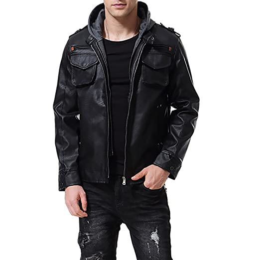 d569b3866 AOWOFS Men's Faux Leather Jacket Black with Hood Motorcycle Bomber Fashion  Slim Fit