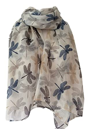 9a58a32d7 Scarf Ivory Cream with Navy Blue Grey Beige Dragonfly Print, Ladies White  Brown Wrap Shawl: Amazon.co.uk: Clothing