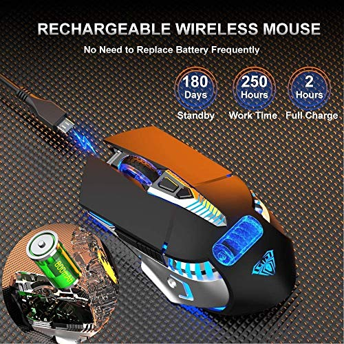 Bluetooth Mouse, Rechargeable Wireless Mouse with Side Button, Multi-Device(3-Mode:BT5.0/3.0 + 2.4Ghz), 7 Color LED Lights, Ergonomic Gaming Mice for PC Computer Laptop Mac Tablet(Black-Sound)