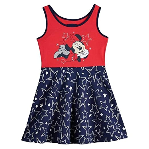 ac62a82ea Jumping Beans Disney's Minnie Mouse Baby Girl Glittery Graphic Patriotic  Skater Dress ...