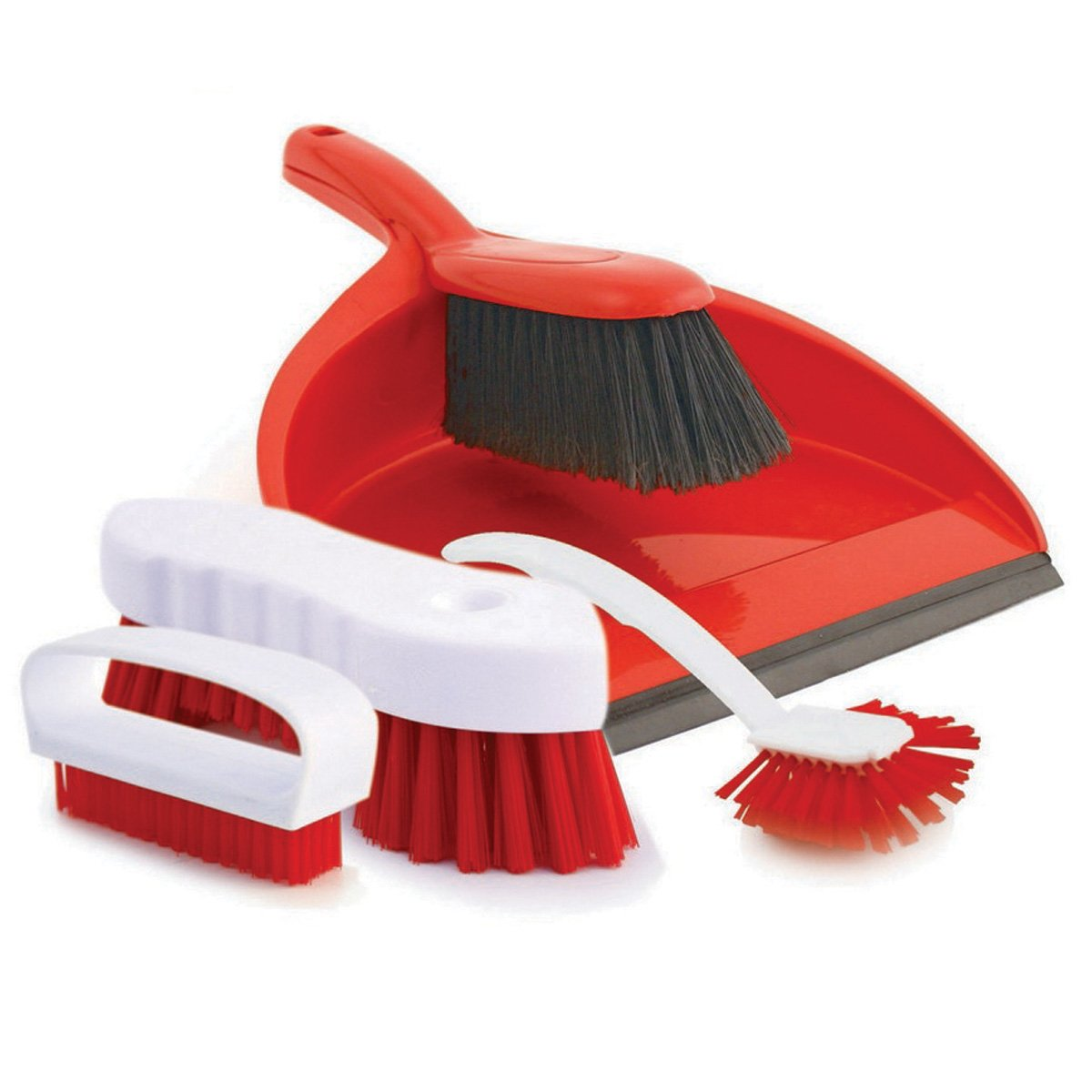 Charles Bentley 4 Piece Colour Coded Cleaning Set Includes Dustpan and Brush - Blue