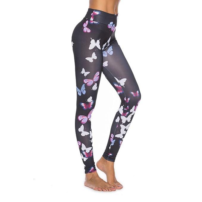 SHOBDW Mujeres Mariposa Deporte Capri Leggings Skinny ...
