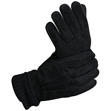 0e48606075282 CHULRITA Mens Winter Genuine Leather Driving Work Gloves with Long Knitting  Cuff