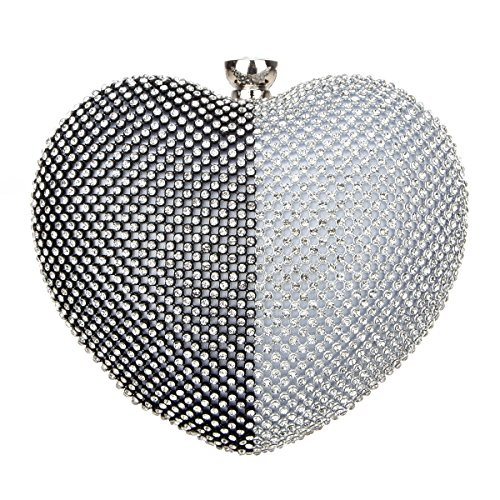 Bonjanvye Heart Shape Diamond Ladies Trendy Evening Cluthes Silver and - Shape Photo Heart Online Cut In