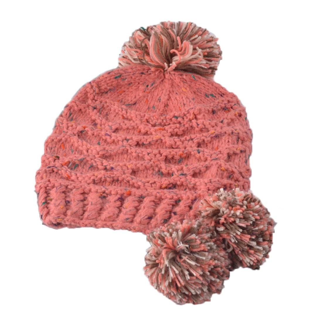Tuscom Women Fashion Warm Hats Knitted Wool Hemming Hat with pom pom 56~58CM