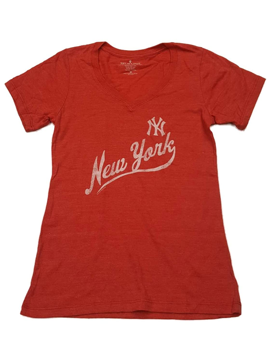 Amazon.com   New York Yankees SAAG Womens Red Faded Logo Ultra Soft V-Neck  T-Shirt   Sports   Outdoors c72939a719c
