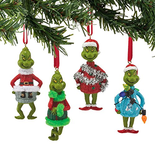 Grinch Ugly Sweater Set of 4 Ornaments