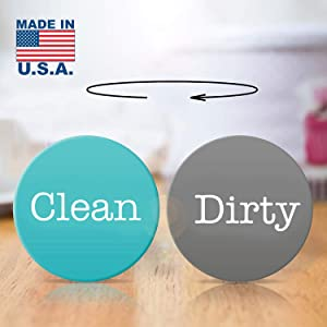 "Dishwasher Magnet CLEAN DIRTY. 2"" Double Sided Round Dishwasher magnet Premium. MADE in USA (Aquamarine/Dark-Gray)"