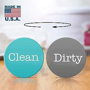 "2"" Double Sided Round Dishwasher Flip CLEAN & DIRTY Premium Dishwasher Magnet. MADE in USA (Aquamarine/Dark-Gray)"