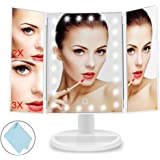 Lighted Vanity Makeup Mirror With Tri Fold Touch Screen