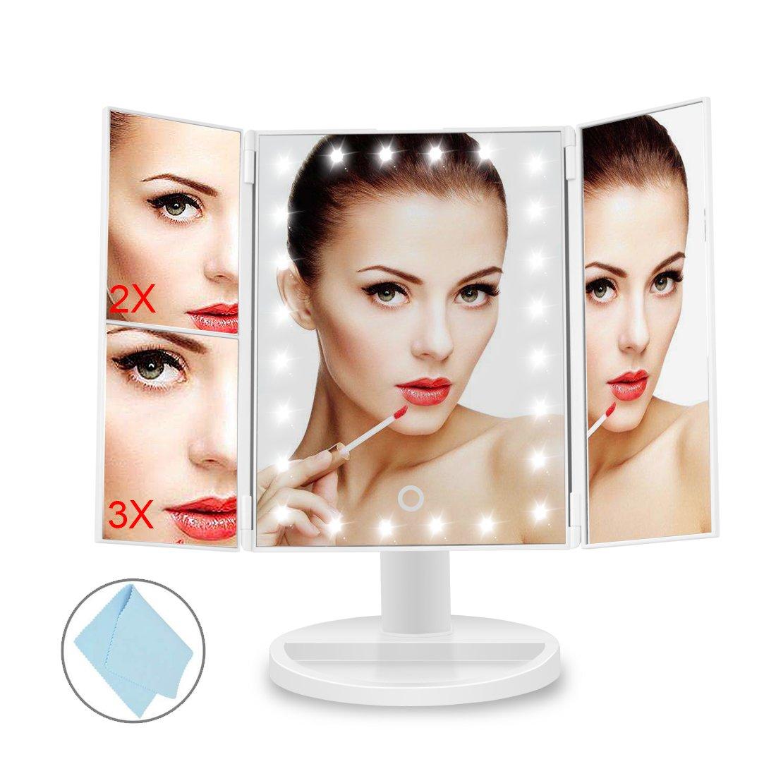 BEQOOL Miroir de comptoir /à trois plis /éclair/é cosm/étique Miroir de maquillage /éclair/é avec super lumineux 24 LED grossissement 1x // 2x // 3x et mode double puissance rotation r/églable /à 180 /°