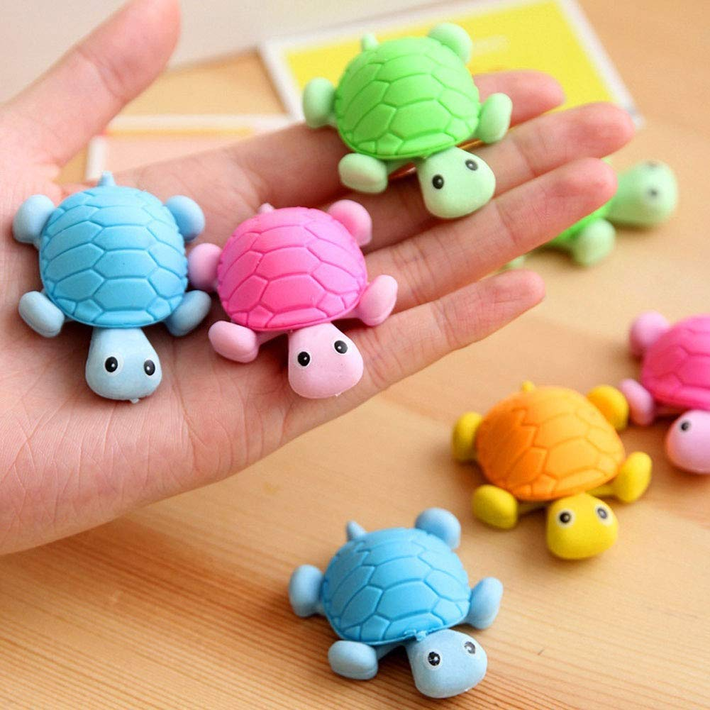 6Pcs Lovely Tortoise Style Pencil Eraser Rubber Stationery Kid Gift Toy Random Color Durable and Practical