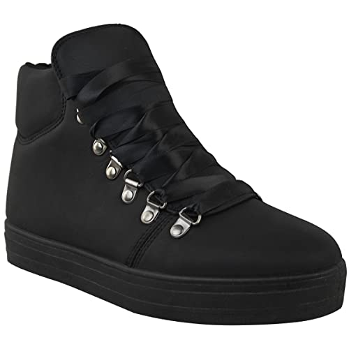 Womens Flat Sneakers Hi Top Lace Up Ankle Boots Size