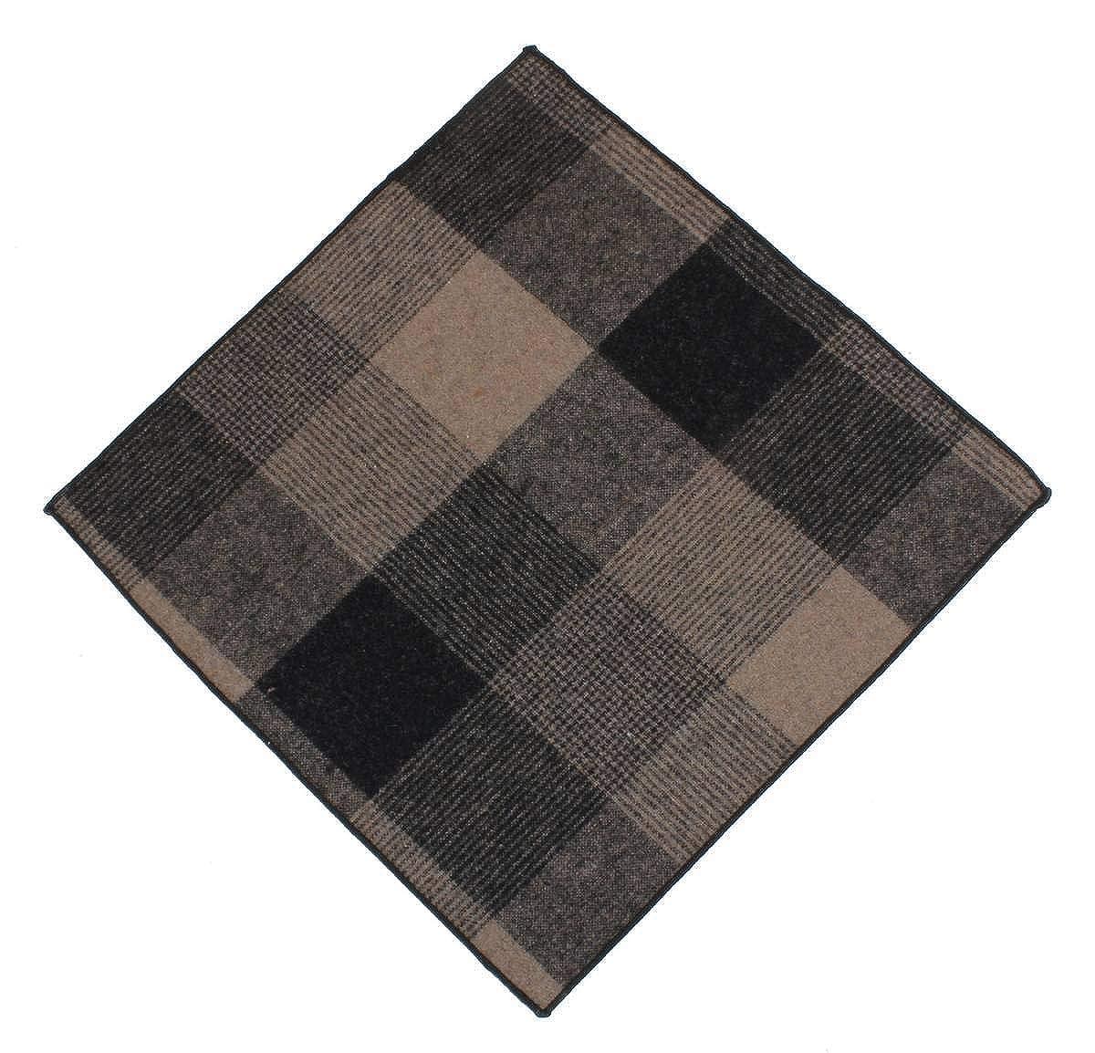 Knightsbridge Neckwear Mens Large Check Tie and Pocket Square Set Beige//Brown