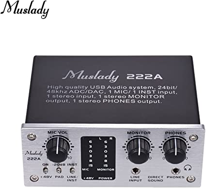 48V phantom power DC 5V Power Supply for Computer Smartphone With USB Cable Muslady 222A 2-Channel USB Audio System Interface External Sound Card