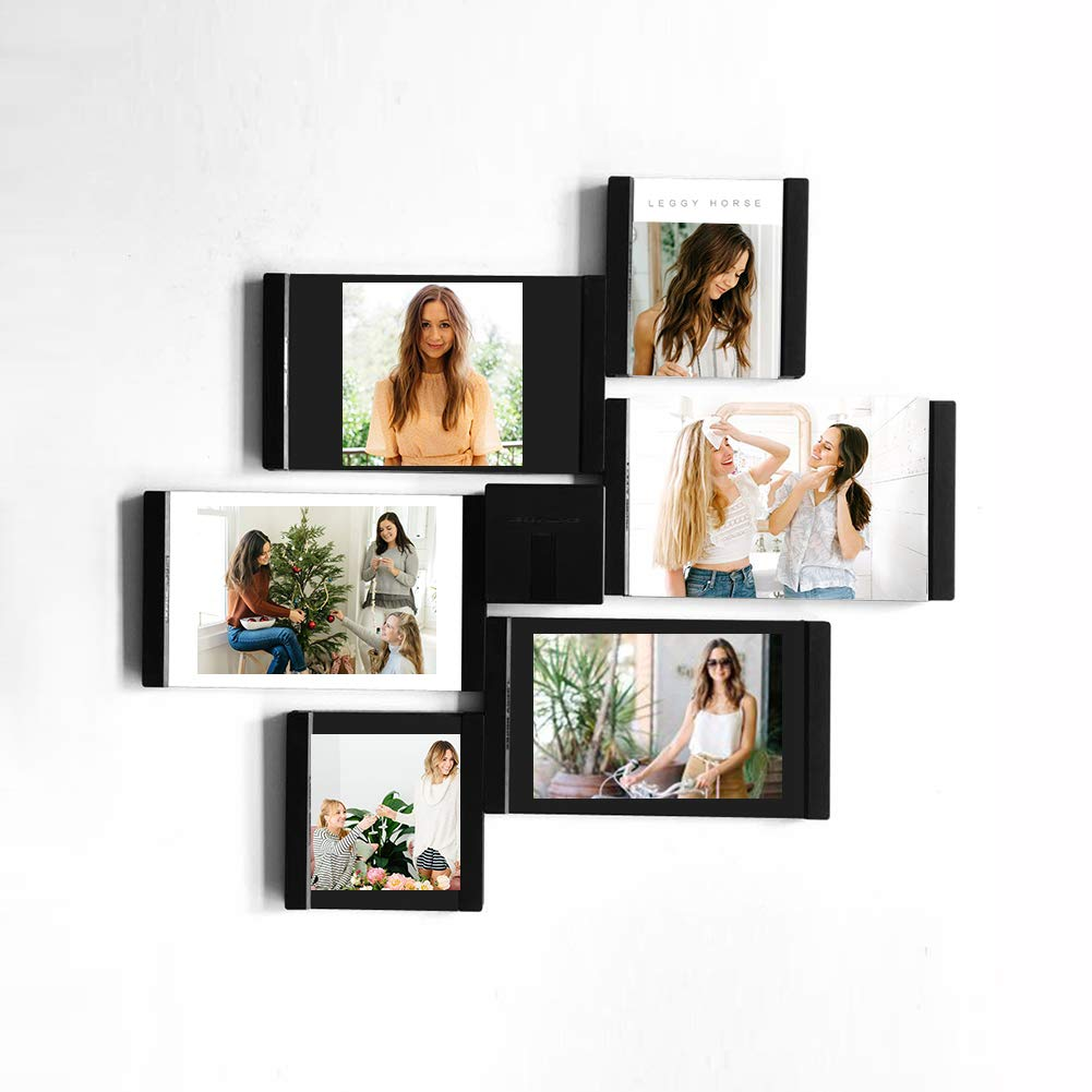 Wall Mount or Tabletop Photo Display Black White Creative Gift SITENG Leggy Horse Collage Picture Frames 4 Pieces Set 2Pcs 3 x 4, 2Pcs 4 x 6