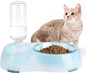 BINGPET Automatic Feeder Slow Food and Refill Water Bowl for Cat & Dog, Removable Automatic Water Dispenser and Slow Food Bowl, Non-Slip Pet Feeder Water Bowls for Cats and Puppies