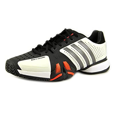 Men's Adidas Adipower Barricade V23749 White Iron Black Red Tennis Sneakers  (Men's 8, White