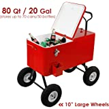 "Clevr 80 Qt Party Wagon Cooler Rolling Cooler Ice Chest, Red, with Long Handle and 10"" All Terrain Wheels, Portable Patio Party Bar Cold Drink Beverage Chest, Outdoor Cooler Cart on Wheels"