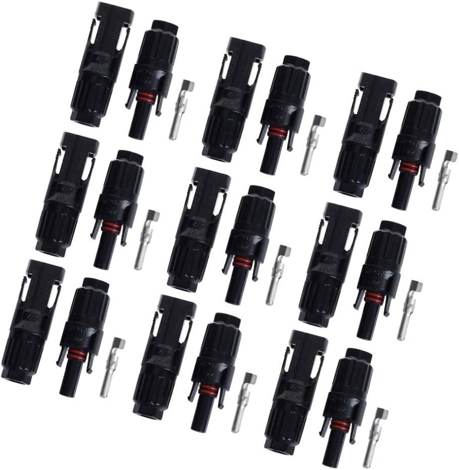 noir DOITOOL 15 paires connecteur mc4 m/âle femme connecteur de c/âble solaire connecteur mc4 connecteur /étanche pour la connexion de panneaux solaires