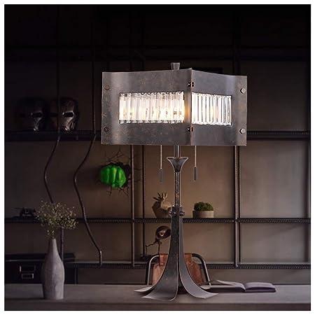 NIUZIMU G-ZM Lámpara de Mesa iluminación de Cristal de Hierro ...