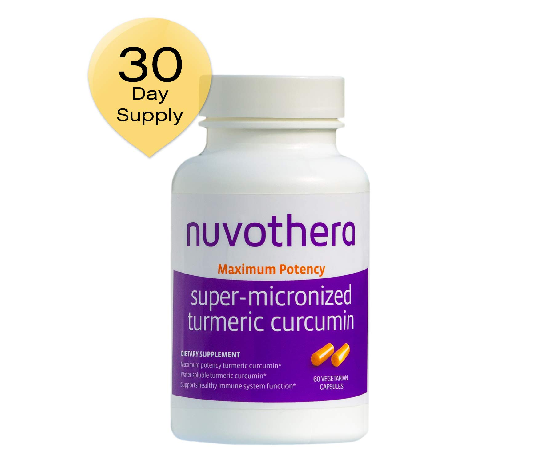 Nuvothera Super Micronized Turmeric Curcumin Supplement 60 Capsules (500 mg) Maximum Potency Whole Turmeric Root and Full Strength Curcumin-Natural Anti-Inflammatory, 1 Month Supply